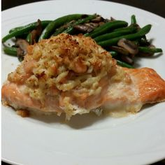 "Stuffed Salmon w/ Crab and Shrimp! ""My absolute favorite meal to make! Pair it with your favorite sides!""  @allthecooks #recipe"