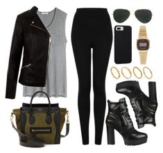 """""""Sin título #12147"""" by vany-alvarado ❤ liked on Polyvore featuring Topshop, T By Alexander Wang, New Look, CÉLINE, Ray-Ban, Case-Mate, Casio and Made"""