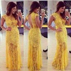 vestidos de festa com tule e renda amarelo