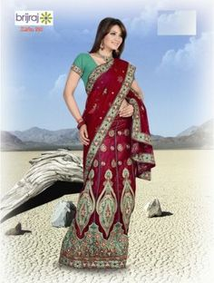 Poly Georgette Red Saree
