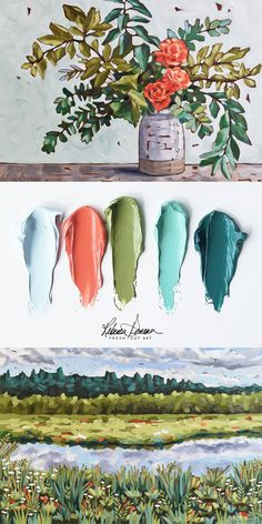 Paintings by Rebecca Deneau. Prints available @ Living Coral Color Palette. Paintings by Rebecca Deneau. Prints available @ Coral Colour Palette, Color Palate, Colour Schemes, Nature Color Palette, Color Combinations, Painting Inspiration, Color Inspiration, Color Stories, Color Swatches