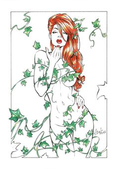 this would be a deadly tattoo Poison Ivy by *Elias-Chatzoudis on deviantART Dc Poison Ivy, Poison Ivy Dc Comics, Poison Ivy Comic, Art Sketches, Art Drawings, Sexy Drawings, Drawn Art, Gotham Girls, Comics Girls