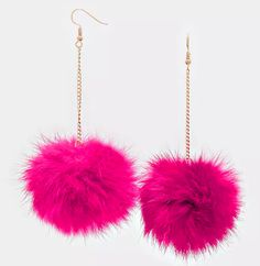 """4.5"""" rabbit fur pom pom dangle Earrings the size of the earrings vary depending on the size of the rabbits tail. they are 1"""" - 2"""" i will select the largest balls i have in stock Purchases will be ship"""