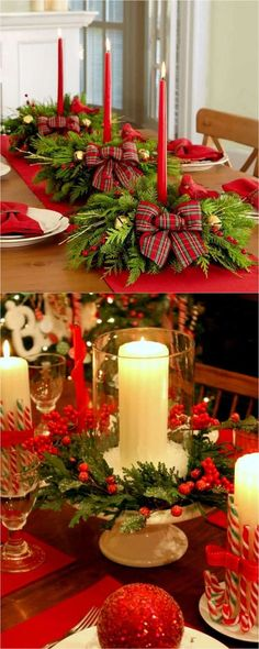 27 Gorgeous DIY Thanksgiving & Christmas Table Decorations & Centerpieces 27 gorgeous & easy DIY Thanksgiving and Christmas table decorations & centerpieces! Most can be made in less than 20 minutes, from things you already have! SAVED BY WENDY SIMMONS Christmas Table Centerpieces, Christmas Table Settings, Christmas Tablescapes, Holiday Tables, Centerpiece Ideas, Wedding Centerpieces, Wedding Decorations, Vintage Centerpieces, Vintage Decorations