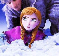 """When Kristoff pulls Anna out of the snow, she's like """"whooa"""" like """"you're strong"""""""