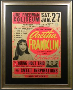 1960s Aretha Franklin Concert Poster — with The Young-Holt Trio & The Sweet Inspirations