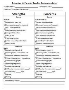 Parent Teacher Conference Form - ENGLISH/SPANISH - Strengt