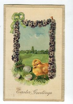 Easter  Postcard chick with shell garland by sharonfostervintage, $3.50