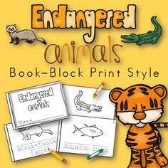 Worksheets Endangered Animals Worksheets Grade 2 shops products and names on pinterest endangered animals book for kindergarten first grade block print style