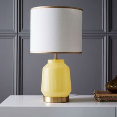 Roar + Rabbit Faceted Glass Table Lamp - Small (Yellow/Gold) | west elm