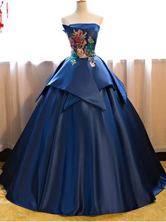 Cheap Prom Dresses Blue Floor Length Satin Wedding Gown Featuring Floral Embroidered Strapless Straight Across Bodice And Lace-Up Back Strapless Prom Dresses, Elegant Prom Dresses, Cheap Prom Dresses, Quinceanera Dresses, Dresses Uk, Ball Dresses, Dress Prom, Dresses Online, Unique Dresses