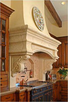 Tuscan style hood. Love the stove!