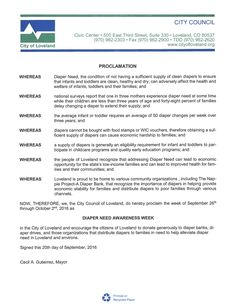 LOVELAND, CO - Mayoral proclamation recognizing Diaper Need Awareness Week (Sep. 26-Oct. 2, 2016) #DiaperNeed Diaperneed.org