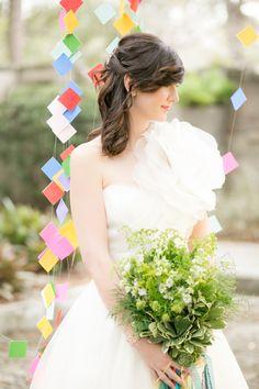 Eclectic and Colorful Geometric Wedding Ideas-via Garden Gate Florals-Orlando and Amalie Orrange Photography #greenweddingbouquet, #succulentweddingbouquet