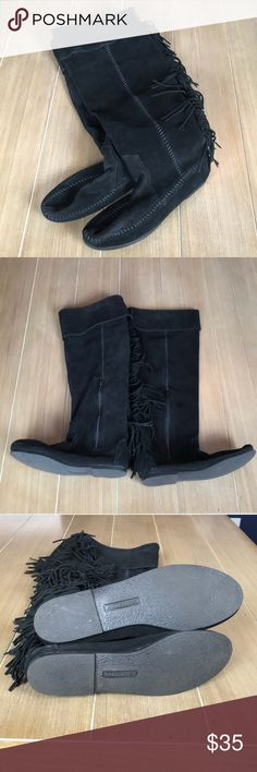 Black Minnetonka Suede Fringe Boots Sz 8 Tall black Minnetonka Moccasin Boots with Fringe down back. Stitching on sides and around foot of boot. Top flaps can bend up for over the knee. Zips down inner sides. Hard rubber soles. Bought at TJ Maxx. worn once. Bundle and save! Minnetonka Shoes Over the Knee Boots