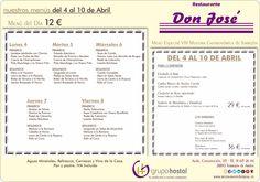 Menús del Restaurante Don José para esta semana.