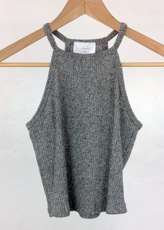 heather grey high neck knit crop top