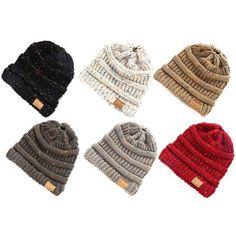 565ccbaeaeedc Women Beanie Tail Messy Soft Bun Hat Ponytail Stretchy Knitted Crochet  Skull Cap Ponytail Beanie
