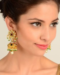 Jhumki Drop Floral Earrings with Kundan Stones