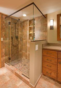 River Rock Shower – Crystal Kitchen + Bath