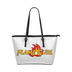 Flame Gurl Logo Leather Tote Bag/Large (Model 1651)