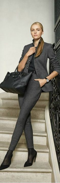 RL Blk Label - modern work wear chic gray suit with skinny leg