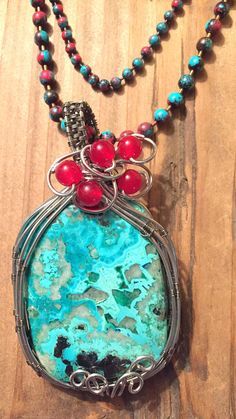 Indian Agate Natural Beaded Necklace with Ocean Jasper Pendant Wire Wrapped in Bronze