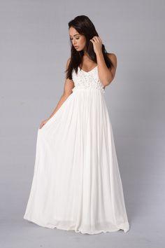 Ancient Rome Dress - White - Maxi Length - Crochet Top - Open Back - Frayed Hem - Lined - Self: Short Beach Dresses, White Maxi Dresses, Trendy Dresses, Maternity Dresses, Sexy Dresses, Lace Dress, White Lace Maternity Dress, White Flowy Dress, Casual Dresses