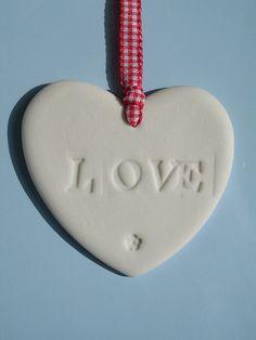 Porcelain Ceramic LOVE Heart Hanging by HaleyHandCraftedLove, £3.00