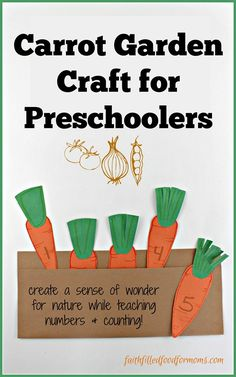 Teach your preschooler about cutting, counting and gardening with this cute Carrot Garden Craft for Preschoolers