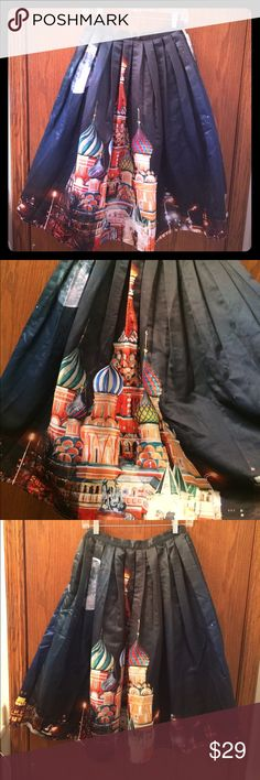 """Chickwish Disney Castle print midi skirt Chickwish printed Disney castle Midi Skirt. Size S. Fits like Size 6. One of a kind skirt. Stylish and special. Not stretch. Waist is 12 1/2"""", waist to hem is 29"""". Thanks. Skirts Midi"""