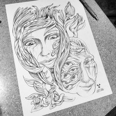 I've really been enjoying using pencil to shade these portrait experimental drawings. // #pencil // #drawing // #portrait // #surreal // #psychedelic // #doodle // #eyes // #trippy // #hair // #girl // #flowers // #floral// #botanical // #illustration //