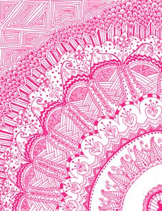 Doodle Madness PINK Art Print
