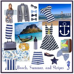 Beach, Summer, and Stripes by giovanina-001 on Polyvore featuring Sperry Top-Sider, TWINTIP, Oasis, Camilla and Marc, Pinko, Chloé, Toss, Dolce&Gabbana, Accessorize and CB2