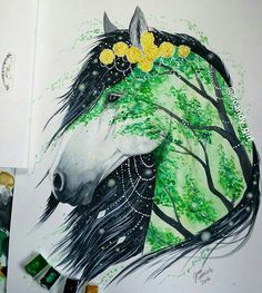 Horse art with tree painting. Jonna Lamminaho || Вдохновение