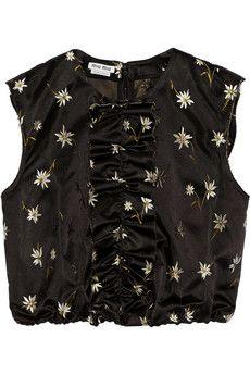Miu Miu Cropped embroidered silk-satin top | NET-A-PORTER