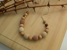 Neutral Crochet Teething / Breastfeeding Necklace  by MyFirstToy