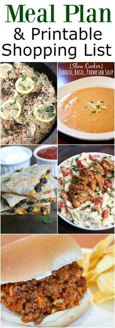 Weekly Meal Plan and Printable Shopping List
