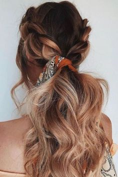 Long Hair Braids: Braided Hairstyles for Long Hair: Loose Double Braid Ponytail - October 12 2019 at No Heat Hairstyles, Scarf Hairstyles, Pretty Hairstyles, Hairstyle Ideas, Bandana Hairstyles For Long Hair, Hairstyles 2016, Hair Updo, 1950s Hairstyles, Stylish Hairstyles