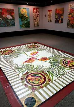 Floorcloth and art by Betty Sinclair Magee - Love the bright colors