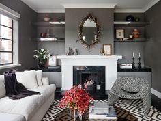 How to decorate with cozy, Dark Tones. Sexy bedroom living room. Grey black silver. With rustic grey sliding barn doors!!