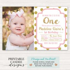 Pink and Gold Birthday Invitation 1st Birthday by printablecandee