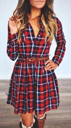 #fall #outfits women's red, black, and white plaid trench coat