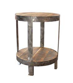 Reclaimed Wood Side Table, Round, Bi-Level #roundsidetable #roundendtable #homedecor #roundnighstand