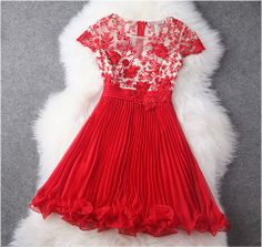 Embroidered Lace Dress in Red