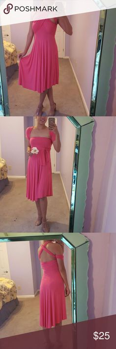 Coral Pink Convertible Dress *coral pink *knee grazing *drape and wrap elegance *can be worn as a skirt *not sure how many styles can be made but i have done more than 10 styles of dresses *lightly used *great condition *can fit small and medium *28 inches from waist to the bottom hem Dresses Maxi