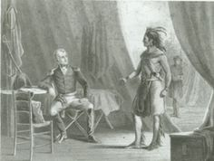 """William Weatherford, """"Red Eagle,"""" surrenders to Andrew Jackson at the end of the Creek Indian War of 1813-1814.  Alabama Dept. of Archives & History."""