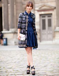 Olivia Wilde cover ups in a shirtdress and embellished tweed coat.    - HarpersBAZAAR.com