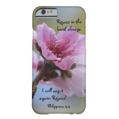 Floral iPhone Case, Beautiful Pink Peach Blossoms with Scripture Verse; Rejoice in the Lord! Rejoice in the Lord always. I will say it again: Rejoice! (Philippians 4:4) Select CUSTOMIZE to choose this design for other phone styles, or iPad cases.