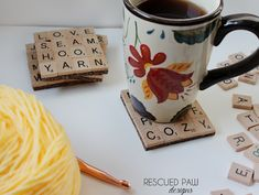 DIY make coasters out of Scrabble letters. Write what you want words) for the person's interest. Scrabble Coasters, Scrabble Letters, Scrabble Tiles, Tile Coasters, Christmas Birthday, Christmas Crafts, Coffee Words, How To Make Coasters, Just Because Gifts